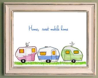 Home sweet mobile home art print