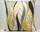 Mustard Yellow Gold  Abstract Leaves decorative throw pillow cover 18 x18 inches Accent cushion sham slipcover.