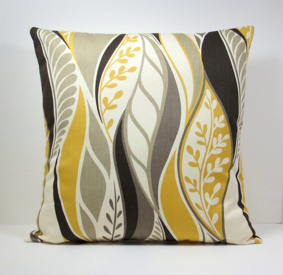 Items similar to Mustard Yellow Gold Abstract Leaves decorative throw pillow cover 18 x18 inches ...