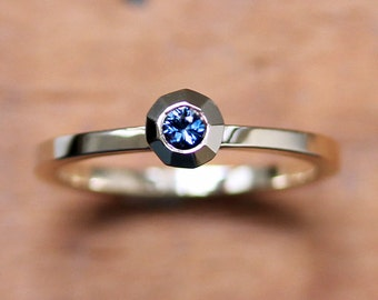 Blue sapphire engagement ring - modern engagement ring - recycled 14k yellow gold - gold promise ring - sapphire solitaire ring - modern