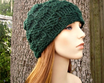 Knit Hat Womens Hat - Basket Weave Beanie in Pine Green Knit Hat - Green Hat Womens Accessories Winter Hat