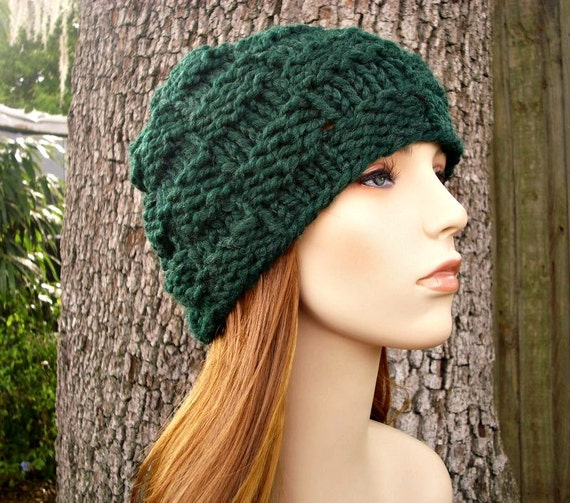 How To Knit A Basket Weave Beanie : Knit hat womens basket weave beanie in pine by pixiebell