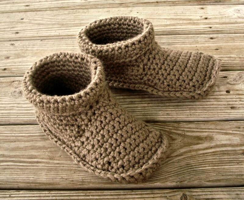 Crocheted Slippers Mens Crochet Slippers in Taupe Mens