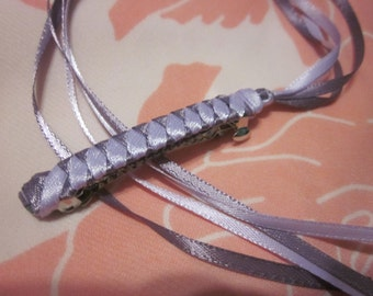 Braided Ribbon Barrette / Light Purple and Deep Lilac