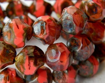 Rustic Coral (10) -Czech Glass Central Cut Rounds 9mm