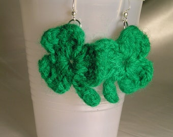 Shamrock St Patrick's Day Earrings ~ Lucky Clover Crochet Fun