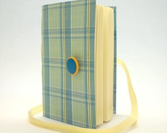 Writing Journal Notebook  with lined paper -blue plaid - white blue green - Personal fabric diary - blank book