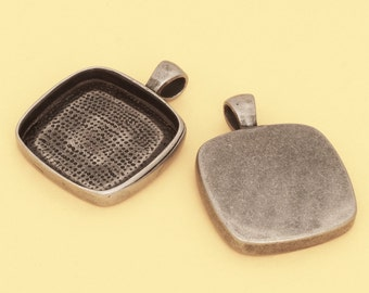 6pcs 25mm 1 inch antique silver square Pewter brass base lead free nickel free Blank Pendant Tray