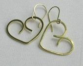 Brass Open Heart Earrings, Hammered Metalwork Dangle Earrings (Bright or Oxidized) Handmade Earwires... Modern Love