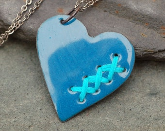 Mended Broken Enamel Heart Pendant Necklace Copper Enameled Jewelry Sewn Denim Blue