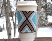 Fabric coffee cozy / coffee cup holder / coffee sleeve / reusable cup cozy -- Geometric X of gray and turquoise