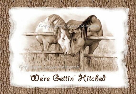 Western Wedding Invitations Templates: Printable Western Wedding Invitation:Two Horses Nuzzling YOU