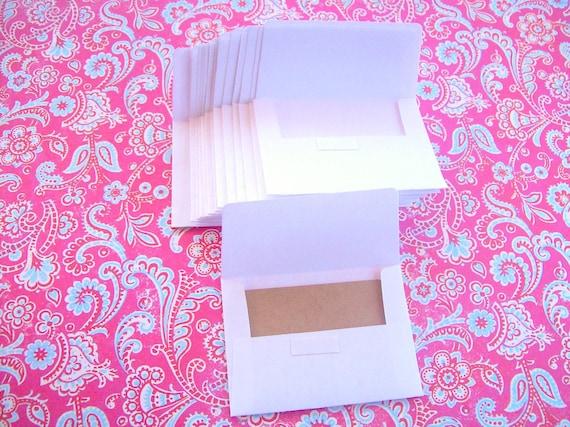 White Mini Envelopes with Kraft note cards - Set of 20