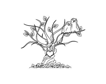 Great horned owl lovers in a sweetheart tree Wedding rubber stamp