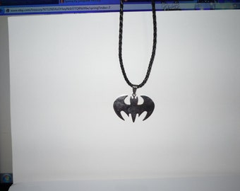 Necklace  Stainless Steel Batman  On Braided Leather Cord  Guy Gift  Man Gift    under 20