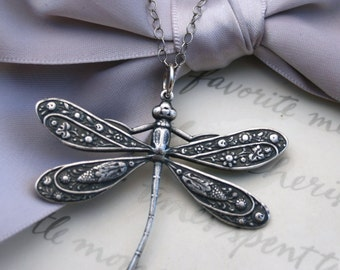 Dragonfly Pendant Necklace Silver Dragonfly