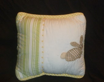 Accent Pillow Made with Pottery Barn Kids Cotton Tail Bunnies stripes Green Chamois Yellow Gingham Brown bunny Nursery Decor