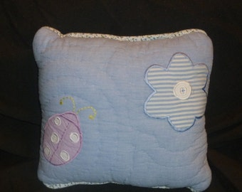 Girls Accent Pillow Made With Pottery Barn Kids Maggies Garden Ladybug Flower Butterfly Bedding Blue Purple