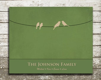 Custom Family Birds on a Wire Wall Art - 8x10 Gift Print