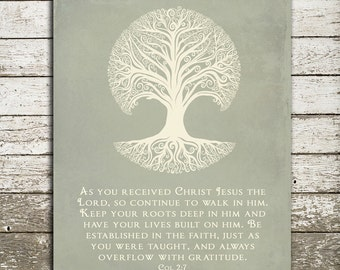 Bible Verse Wall Art Print - Christian Scripture Gift - Keep your roots deep in Him - Colossians 2 - 8x10 Gift Print