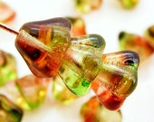 Czech Bell Flower Beads 8x6mm Peach Pear Glass Two Color (15pk) SI-8x6F-TCPP