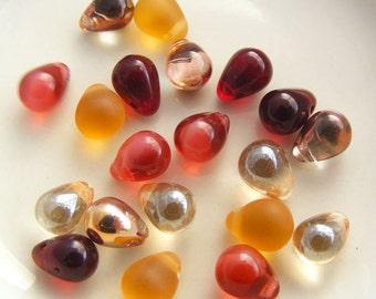 Czech Glass Teardrop Bead Mix 8x6mm Toasted Fig Designer Glass Bead Mix (20pk)