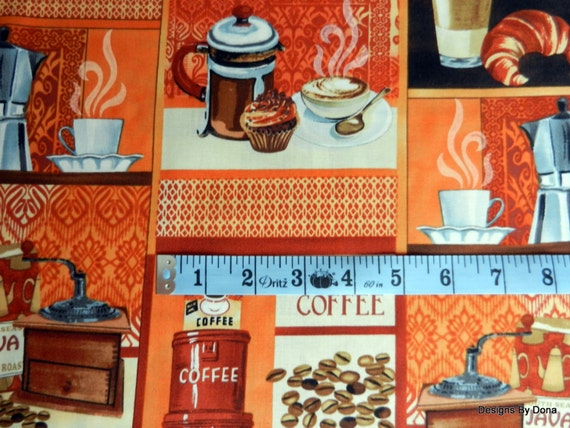 One yard cut quilting fabric coffee coffee cups etc for Coffee mug craft kit