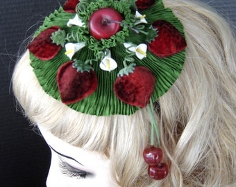 Strawberry Headpiece Fascinator With Cherries On The Side On Sale