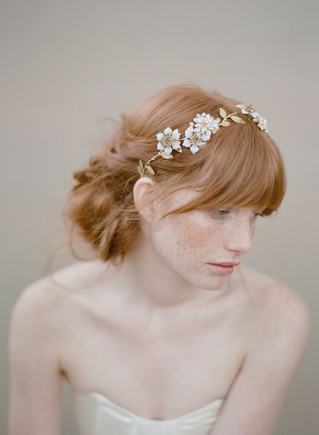 Br Bridal Headpieces Twigs And Honey - Bridal hair vine beaded flowers headpiece pearl and crystal blossom twig headpiece