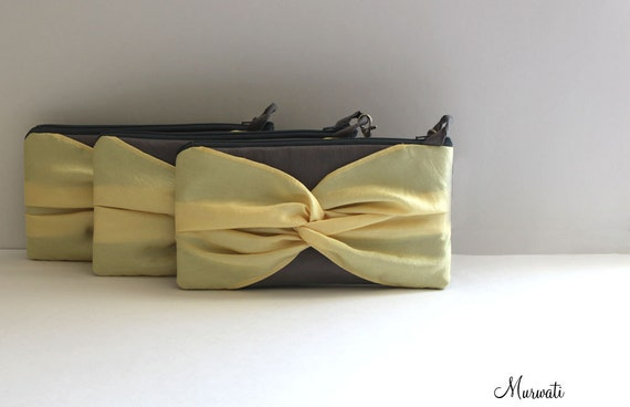 Color Block- Wedding Clutches-PETITE Knot Wristlet-SET OF 3- Gray Yellow Black Silver Red Navy Green White Ivory And More