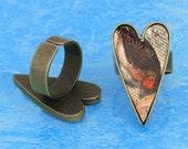 20pcs antique bronze Heart tray Adjustable pewter Ring Blank -Saint Valentine Day