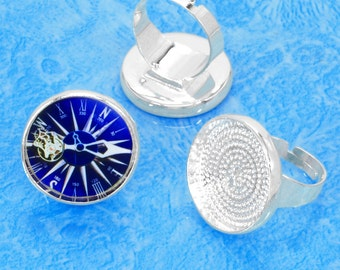 free matching glass NEW 10 pcs silver tone circular Adjustable Blank tray Ring