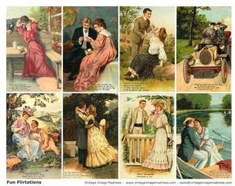 FUN FLIRTATIONS Vintage Postcards - Instant Download Digital Collage Sheet