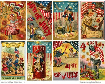4TH OF JULY Vintage Postcards 3 - Instant Download Digital Collage Sheet