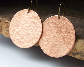 Hammered Earrings, Copper Hammered Earrings, Copper, Copper Disc Earrings, Big Earrings, Etsy, Etsy Jewelry