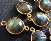 18mm (11mm Stone) Gold Bezel Gemstone Connector Labradorite (natural)  2 loops F391- 2 pcs