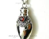 Garnet Bali Long Heart Wish Pendant- 925 Sterling Silver P23