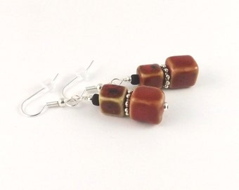 Cubes Cubed Brick Red Pottery Bead surgical steel french hook earrings