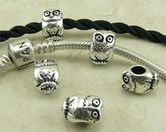 4 TierraCast Owl Bird Animal Euro Bead > Hedwig Owl Post Harry Potter - Fine Silver Plated Lead Free Pewter - I ship Internationally 5767
