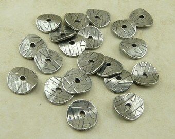 20 TierraCast 10mm Wavy Abstract Disc Caps > Antiqued Pewter Finish Lead Free Pewter - I ship Internationally - 0448