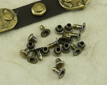 10 TierraCast 4mm Compression Rivets Sets for Leather - Brass Ox Plated LEAD FREE Pewter - I ship Internationally 0060