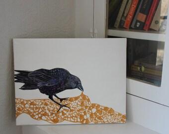Golden lace raven painting.