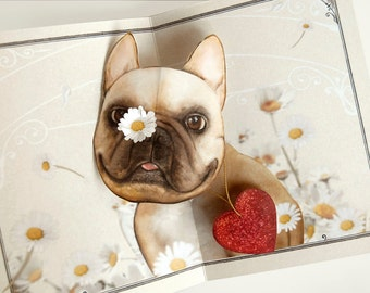 "French Bulldog Pop Up Card - a Frenchie in field of daisies! More Info? Scroll & Read ""Item Details"""