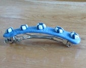 Blue Barrette with Blue and White Striped Beads