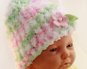 Sweet Soft Hand Knit Baby Girl Hat - Gentle Pink and Mint, Felt Flower, Preemie to Newborn sz
