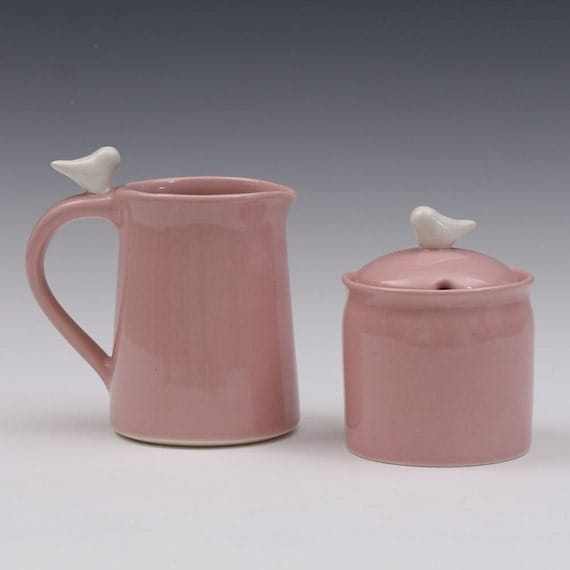 Bird Sugar Bowl and Creamer Ceramic Set For Entertaining, Hostess, Kitchen, Dining
