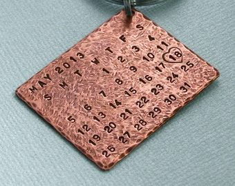 Special Day - Rustic Copper Calendar Key Ring