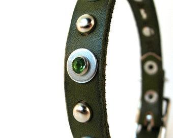 Olive Green Leather Dog Collar with Sparkles and Studs, Size XS, to fit a 7-9in Neck, Extra Small Dog, Recycled Belt, OOAK