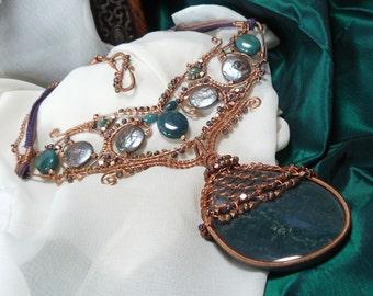 Moss Agate Necklace ~ Copper Wire Wrapped Necklace ~ Renaissance Necklace ~ Festoon Necklace ~ Statement Necklace ~ Bohemian Necklace