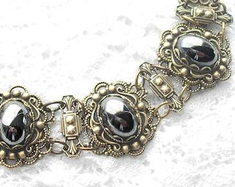 Hematite Glass Bracelet - Vintage Style Antiqued Brass Linked